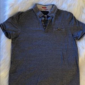 Ted Baker grey blue collared polo size 4 shirt